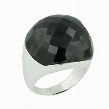 Sterling Silver Ring Black Cubic Zirconia Chess Cut Concave Dome--E-coated--