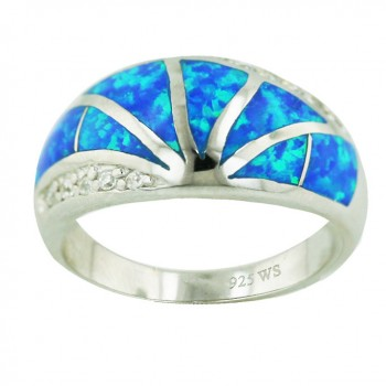 Sterling Silver Ring Lines Burst Out Blue Opal (K-5) with Clear Cubic Zirconia - 6