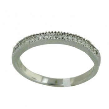 Sterling Silver Ring Micropave Single Row Clear Cubic Zirconia - 9
