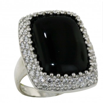 Sterling Silver Ring 26X21mm Onyx Cushion - 8