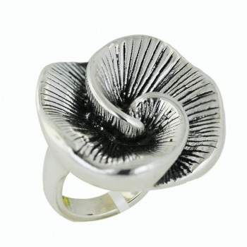 Sterling Silver Ring 33mm Plain Swirl Flower with Oxidized Line Text - 8