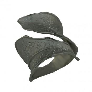 Sterling Silver Ring Oppositive Matt Finish+Dusted Leaf--Ruthenium Pl - 6