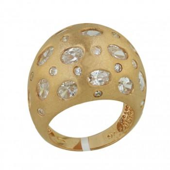 Sterling Silver Ring L=19.5mm Satin Finish Rosegold Plating Hig - 9
