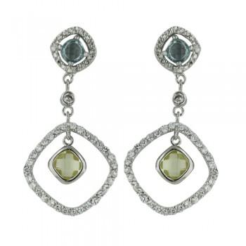 Brass Earring Cl Cz Diamond Shape Dangle Yl/Bl Cz