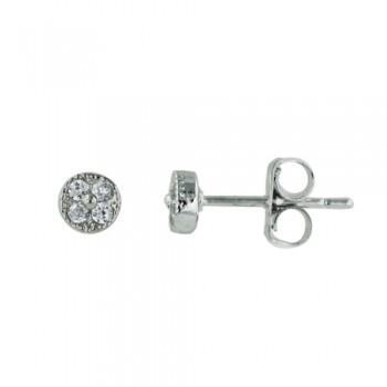 Brass Earring Stud 5 Mm 4 Pcs Clear Cz, Clear