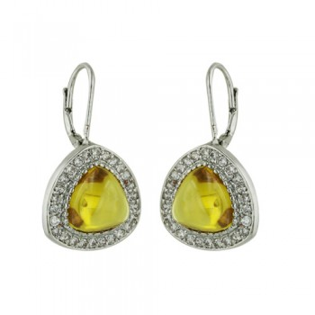 SS Earring Trillion Yellow Cz Surround By Cl Cz, Multicolor