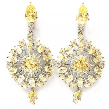 SS Earring Dangle Snowflake Canary Cz +Clear Cz, Multicolor