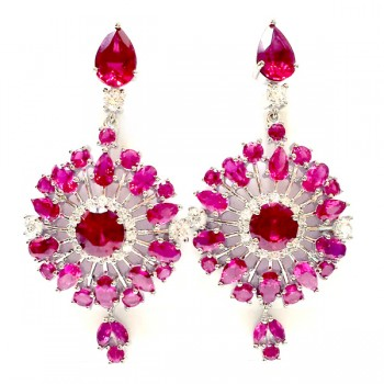 SS Earring Dangle Snowflake Ruby #5 +Clear Cz, Multicolor