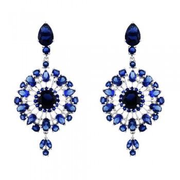SS Earring Dangle Snowflake W/Blue Glass, Blue