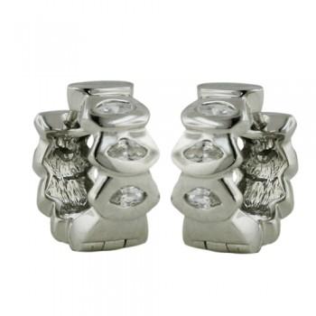 Brass Earring Fan Pattern Huggie W/ Cl Cz