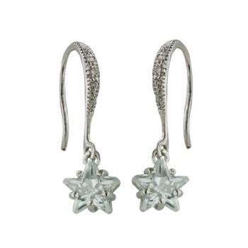 Brass Earring Cl Cz Star Dangle On Cl Cz Fish Hook