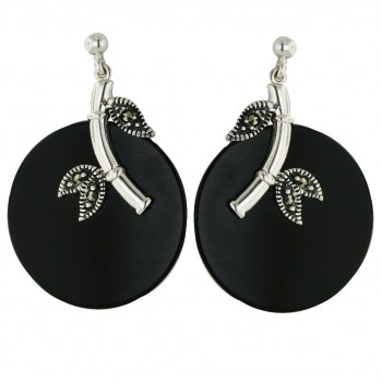 Marcasite Earring 25mm Flat Round Onyx+Plain/Marcasite Bamboo Leaf