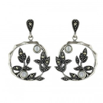 Marcasite Earring 16X16mm White Mother of Pearl with Pave Marcasite Leaves Open Ro