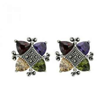 Marcasite Earring 4 Triangular Multicolor Color Cubic Zirconia with Marcasite Center-1