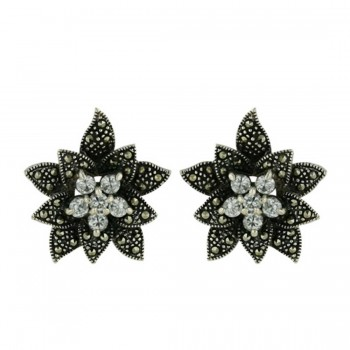 Marcasite Earring Flower with Clear Cubic Zirconia Center