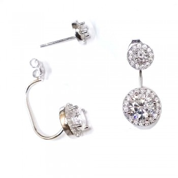 SS Earg 6Mm Cl Cz Stud W 8Mm Cl Cz Drop Back, Silver