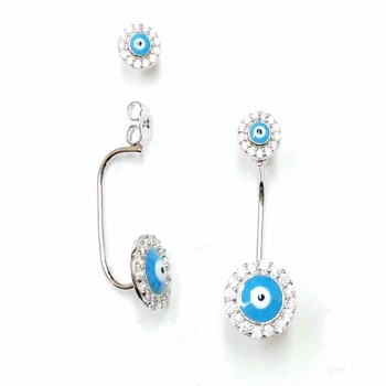 SS Earg 5Mm/8Mm L.Blue Enamel Evil Eye Drop Back E, Silver