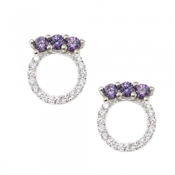 Sterling Silver Earring 3 Amethyst Cubic Zirconia Top of Open Clear Cubic Zirconia Circle