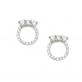 Sterling Silver Earring 3 Clear Cubic Zirconia Top of Open Clear Cubic Zirconia Circle