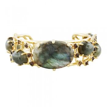 Bronze Cuff Labradorite Stone W/Smoky Quartz