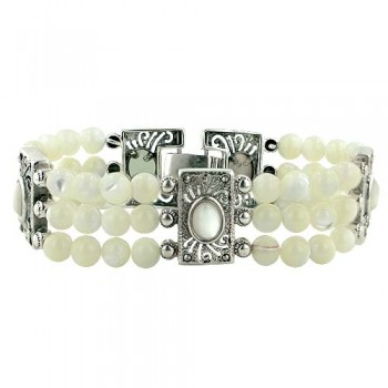 Marcasite Bracelet (White) Colors Beads+Cubic Zirconia 3 Layer