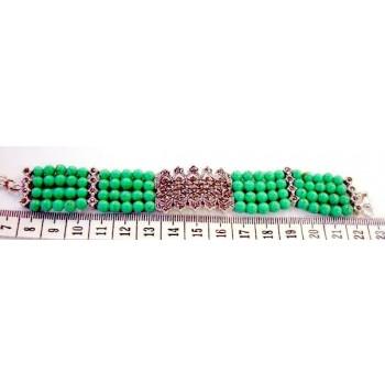 Marcasite Bracelet 4 Strand (80Pcs) Faux Turquoise with Marcasite Pieaces Ctr+