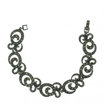 Marcasite Bracelet Pave Marcasite Rope with Triple Swirl Link