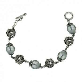 Marcasite Bracelet 8.5'' Quadruple 13mm Gray Faux Pearl+Marcasite 12
