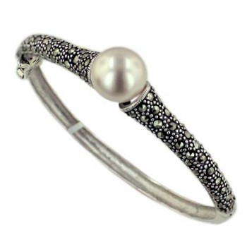 Marcasite Bangle Marcasite with Faux Pearl