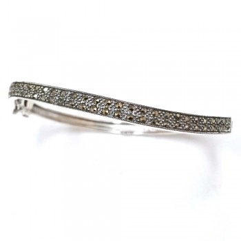 Marcasite Bangle Thin Wave Paved in Marcasite
