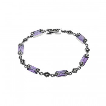 Marcasite Bracelet Baguette Cut Amethyst Cubic Zirconia Diamond Links