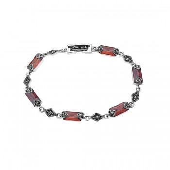 Marcasite Bracelet Baguette Cut Garnet Cubic Zirconia Diamond Links