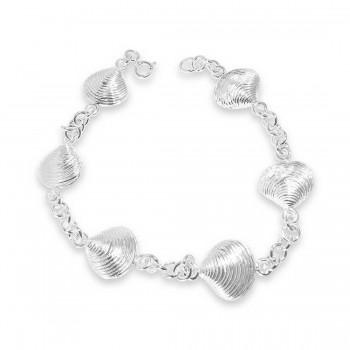Sterling Silver Bracelet 7.25 Inches Plain 6 Pc Line Texture Sh
