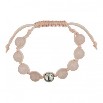 Sterling Silver Bracelet Braided 6 Faceted Rose Quartz Faceted Bead