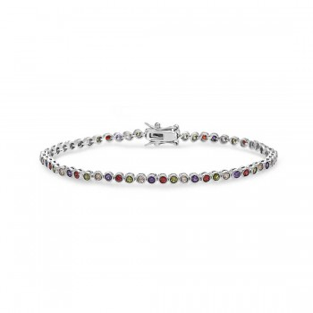 Sterling Silver Bracelet 2Mm Garnet, Amethyst, Olivine, Chamap