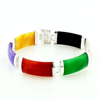 Sterling Silver Bracelet Multicolor-Color Jade Bamboo Shape