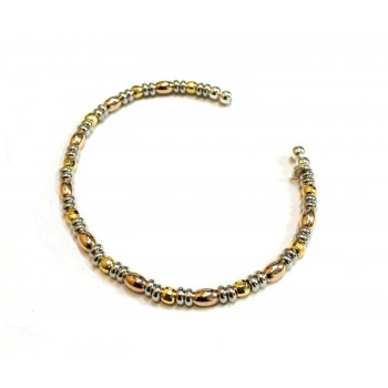 Sterling Silver Bangle Tri Tone Rice Bead Open-For Teen Ager