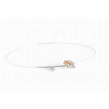 Sterling Silver Bangle 2 Tones Star With Star Rose Gold And Rho