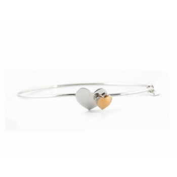 Sterling Silver Bangle Heart With Heart 2 Tones Rose Gold And R
