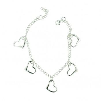Sterling Silver Bracelet 8'' Plain 5 Open Hearts--Nickle Free