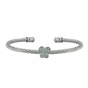 Stainless Steel Bangle Butterfly W/ Cl Cz