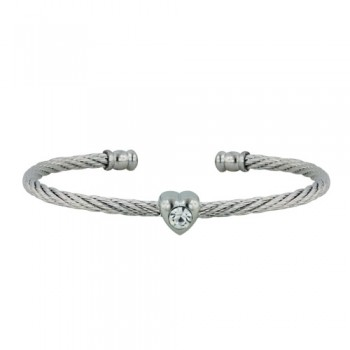 Stainless Steel Bangle Heart W/ Cl Cz Silver Tone, Silver