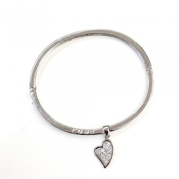 "Sterling Silver Bangle Plain with ""Love"" + Clear Cubic Zirconia Heart Charm"