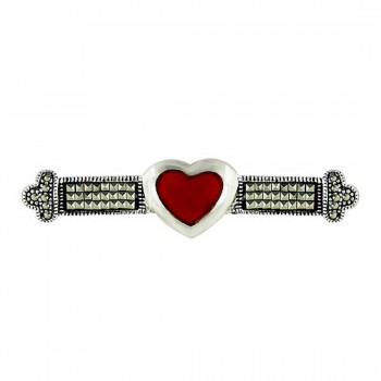 Marcasite Pin Square Cut Bar with Heart Carnelian