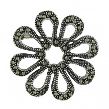 Marcasite Pin Filigree Flower Lines