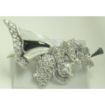 Marcasite Pin Angel Blowing Trumpet Onyx+Mother of Pearl