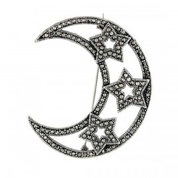 Marcasite Pin Moon Shape with 3 Open Star