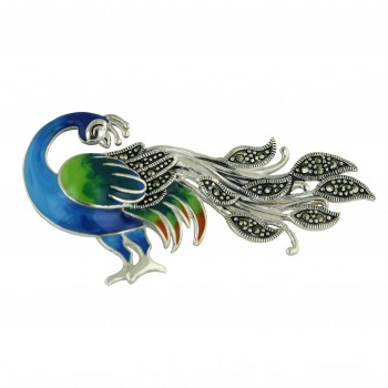 Marcasite Pin Black+Green+Or Enamel Rooster
