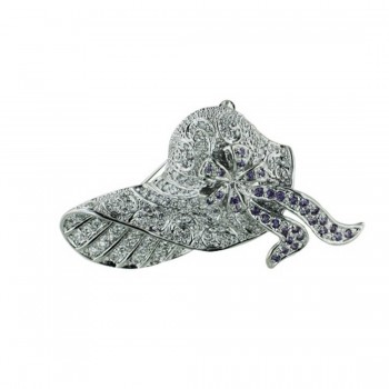 Sterling Silver Pin Clear Cubic Zirconia Fancy Hat with Ame Cubic Zirconia Bow