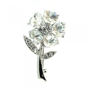 Sterling Silver Pin Clear Cubic Zirconia Heart Petals Flower with Clear Cubic Zirconia Leaf